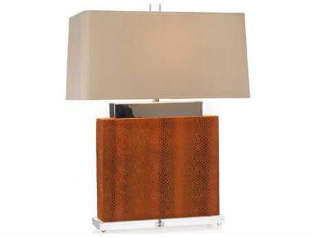 John Richard Snake Skin Block Orange Table Lamp