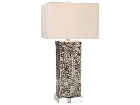 John Richard Silver Embossed Croc Table Lamp