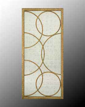 John Richard Eglomise with Gold Frame & Circle Accents Wall Mirror