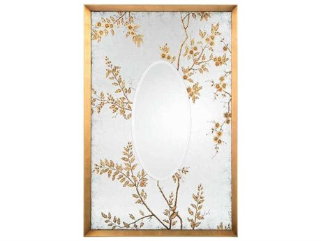 John Richard Ryoan Muted Gold And Distressed Eglomise 50'' x 74'' Rectangular Wall Mirror