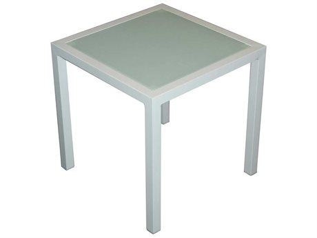 Feruci Aruba Aluminum 18W x 18D Square Side Table with Glass Top