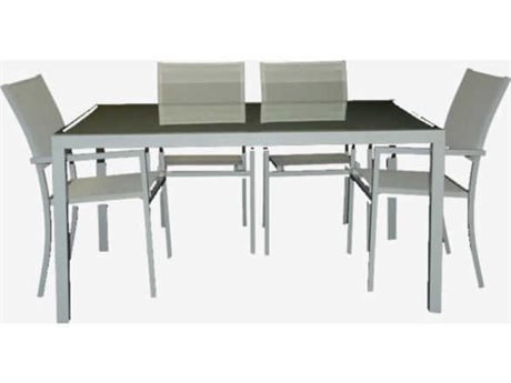 Feruci Aruba Aluminum 63W x 40D Rectangular Dining Table with Glass Top PatioLiving