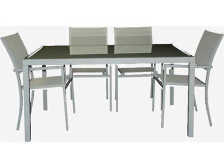 Feruci Aruba Aluminum 80W x 40D Rectangular Dining Table with Glass Top PatioLiving
