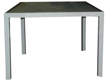 Feruci Aruba Aluminum 35W x 35D Square Dining Table with Glass Top