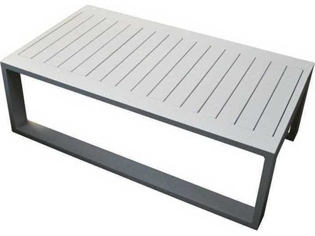 Feruci Aruba Aluminum 43W x 25D Rectangular Large Coffee Table PatioLiving