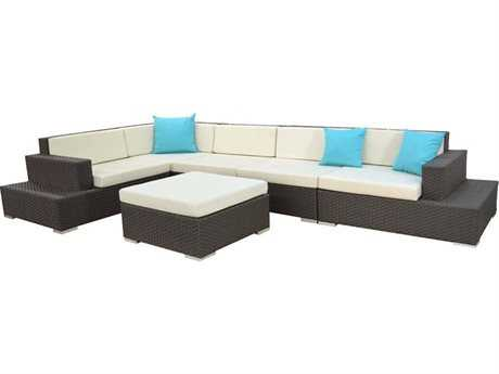 Jaavan Fidji Wicker Sectional Lounge Set
