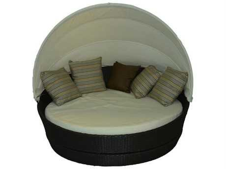 Jaavan Round Wicker Canopy Bed 360