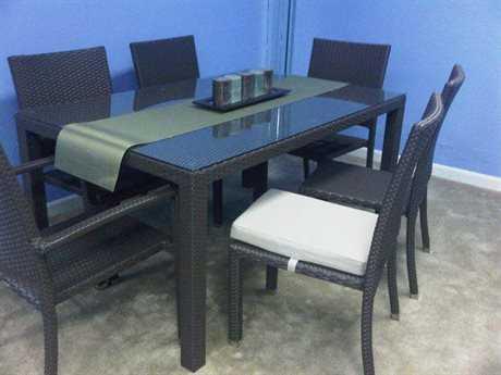 Jaavan Venice Wicker 60''W x 40'' Rectangular Dining Table