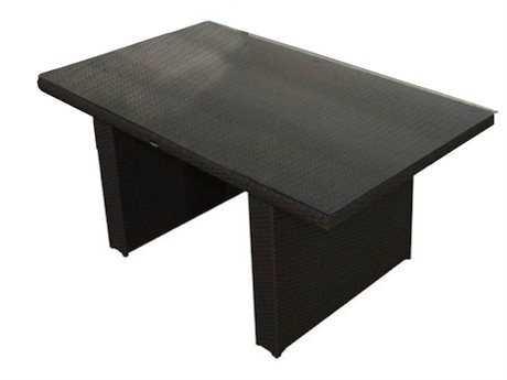 Jaavan Bora Bora Wicker 57''W x 33''D Rectangular Low Small Dining Table