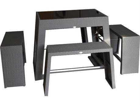 Jaavan Nassau Wicker Bar Table Set
