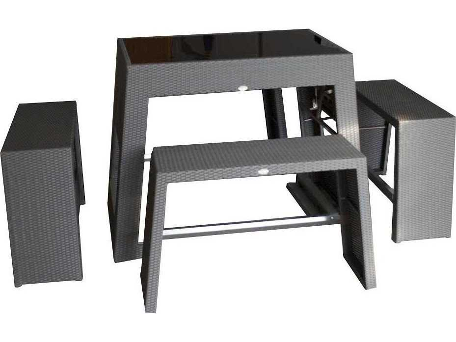 Jaavan Nassau Wicker Bar Table Set Ja42