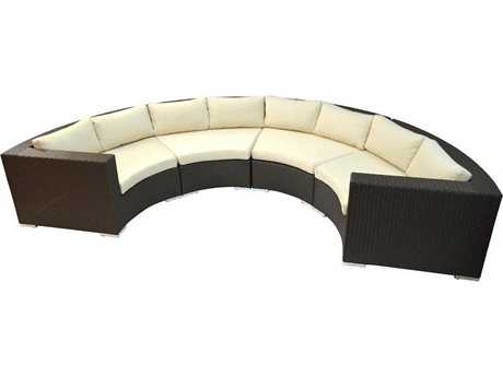 Jaavan Round Wicker Sectional Lounge Set