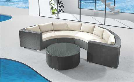 Jaavan Round Cushion Wicker Sectional Lounge Set