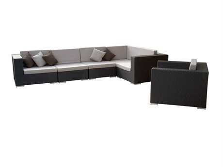 Jaavan Venice Cushion Wicker Sectional Lounge Set