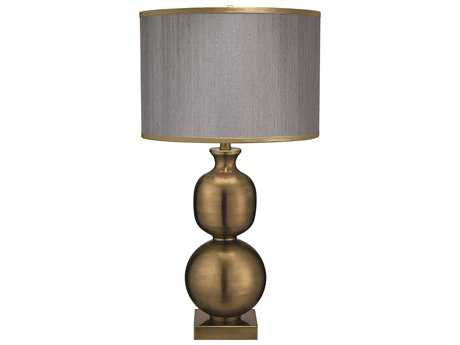 Jamie Young Company Double Ball Antique Brass Table Lamp with Silver Hemp & Golden Beige Silk Trim Shade