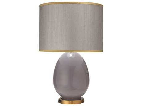 Jamie Young Company Egg Dove Gray Large Table Lamp with Silver Hemp with Golden Beige Silk Trim Shade