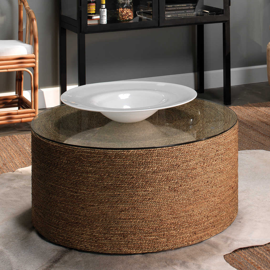 Jamie Young Company Harbor Natural Seagrass 36 Wide Round Coffee Table Jyc20harbctna [ 1132 x 1132 Pixel ]
