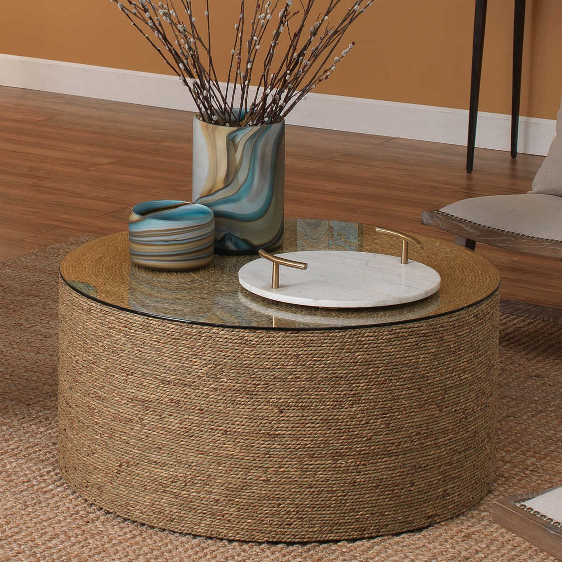 Jamie Young Company Harbor Natural Seagrass 36 Wide Round Coffee Table Jyc20harbctna [ 1125 x 1125 Pixel ]
