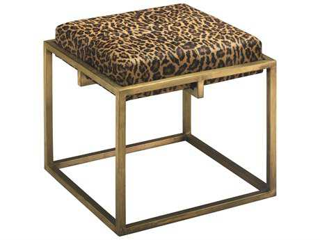 Jamie Young Company Shelby Antique Brass & Leopard Print Hide Stool