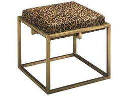 Shelby Antique Brass & Leopard Print Hide Stool