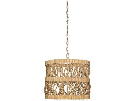 Jamie Young Company Tropos Natural Beads Three-Bulb 19'' Wide Pendant