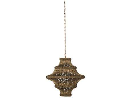 Jamie Young Company Whisper Antique Gold Beads Five-Bulb 29'' Wide Pendant