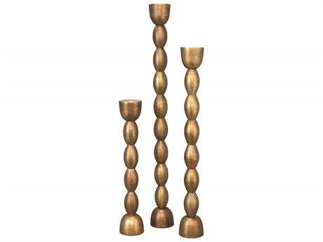 Jamie Young Company Brancusi Antique Brass Candlesticks (Set  of 3)