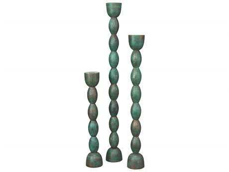 Jamie Young Company Brancusi Green Patina Candlesticks (Set  of 3)