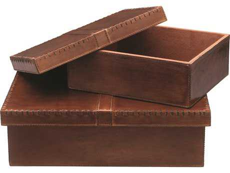 Jamie Young Company Frontera Tobacco Leather Boxes (Set of 2)