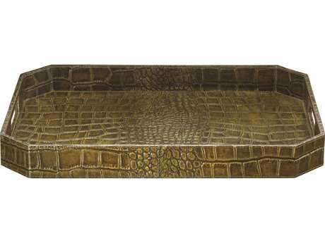 Jamie Young Company Large Octave Olive Faux Croc Tray