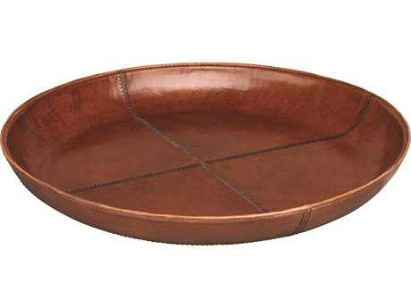 Jamie Young Company Round Stitch Tobacco Leather Tray