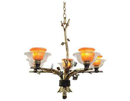 Kalco Lighting Cottonwood Art Glass Five-Light 28'' Wide Chandelier
