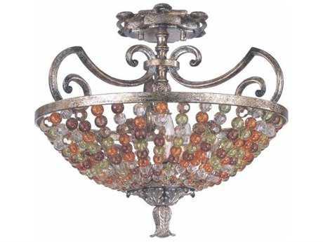 Kalco Lighting Chesapeake Antique Silver Leaf Three-Light Semi-Flush Mount Light