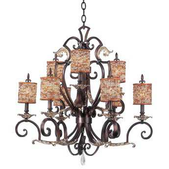 Kalco Lighting Chesapeake Antique Silver Leaf Nine-Light 34'' Wide Grand Chandelier