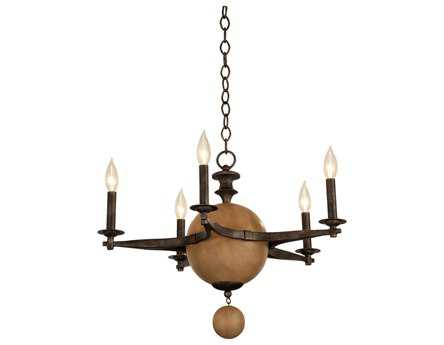 Kalco Lighting Hampton Florence Gold Five-Light 24'' Wide Chandelier
