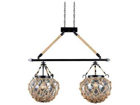 Kalco Lighting Hatteras Satin Bronze Two-Light 30'' Wide Island Light