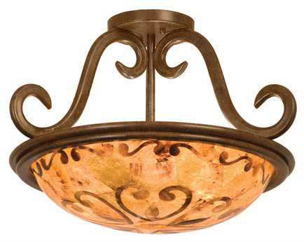 Kalco Lighting Santa Barbara Tortoise Shell Three-Light Semi-Flush Mount Light