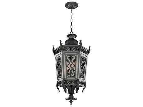 Kalco Lighting Belcastro Gilded Iron Four-Light 16'' Wide Outdoor Hanging Lantern Light
