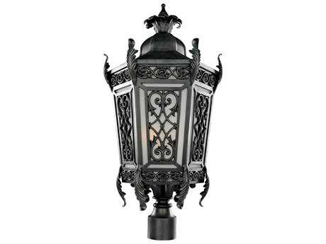 Kalco Lighting Belcastro Gilded Iron Two-Light 14'' Wide Outdoor Post Light