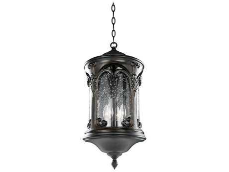 Kalco Lighting Shorecrest Burnished Bronze Four-Light 12'' Wide Outdoor Hanging Lantern Light