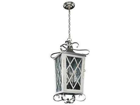 Kalco Lighting Trellis Brushed Stainless Steel Four-Light 12'' Wide Outdoor Hanging Lantern Light