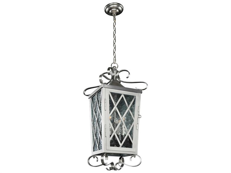 Kalco lighting trellis brushed stainless steel four light 12 wide outdoor hanging lantern