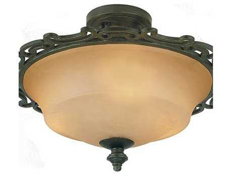 Kalco Lighting Hamilton Copper Claret Three-Light Semi-Flush Mount Light