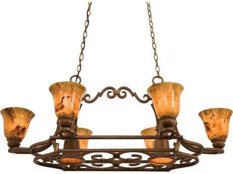 Kalco Lighting Avondale Antique Copper Six-Light 43'' Wide Island Light