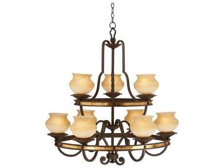 Kalco Lighting Durango Tawny Port Nine-Light 36'' Wide Grand Chandelier