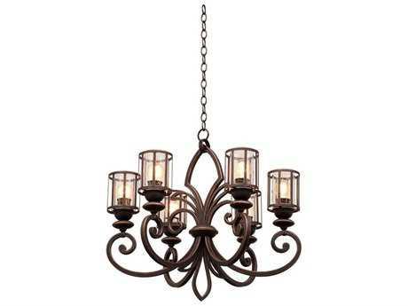 Kalco Lighting Keswick Antique Copper Six-Light 26'' Wide Chandelier