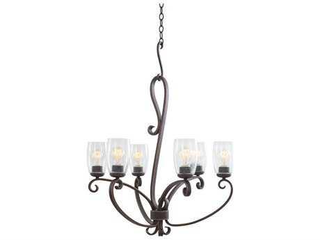 Kalco Lighting Castaic Antique Copper Six-Light 29'' Wide Chandelier