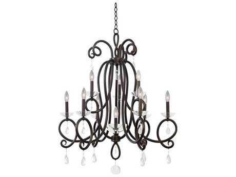 Kalco Lighting Winona Tarnished Brass Ten-Light 32'' Wide Chandelier