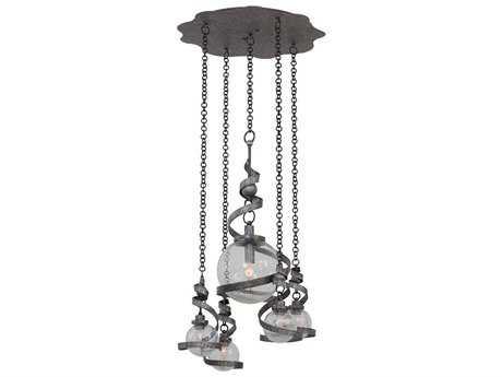 Kalco Lighting Odessa Hammered Silver Four-Light Pendant