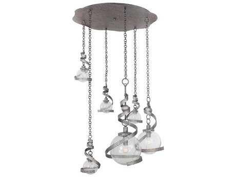 Kalco Lighting Odessa Hammered Silver Six-Light Pendant